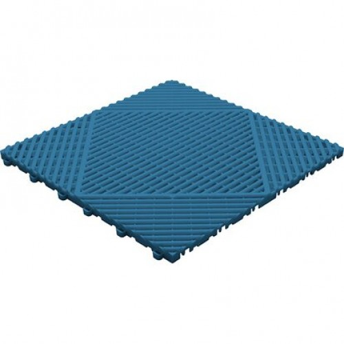 Garagevloer-kunststof-open ribben-structuur-rond Kleur: blauw