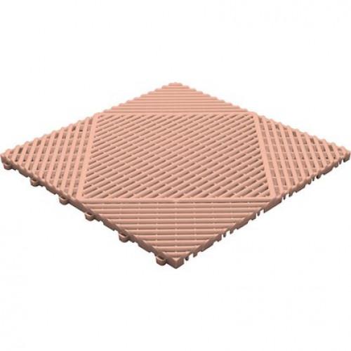 Garagevloer-kunststof-open ribben-structuur-rond Kleur: terracotta
