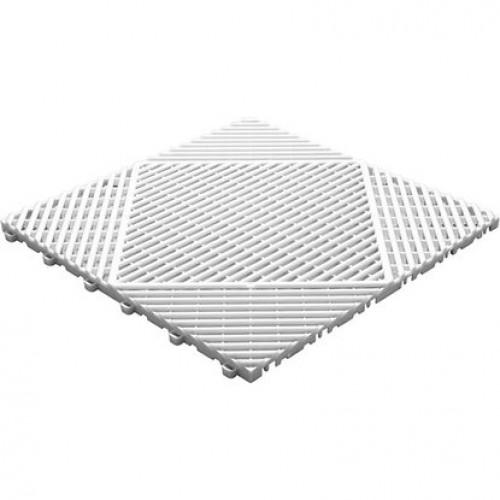 Garagevloer-kunststof-open ribben-structuur-rond Kleur: wit
