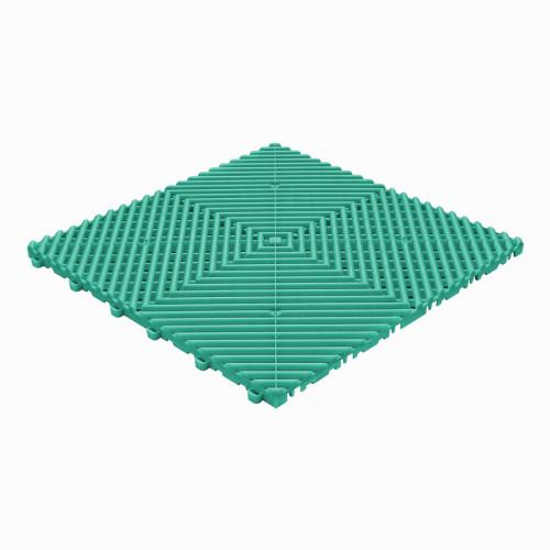 Garagevloer-kunststof-open ribben-structuur-rond Kleur: turqoise