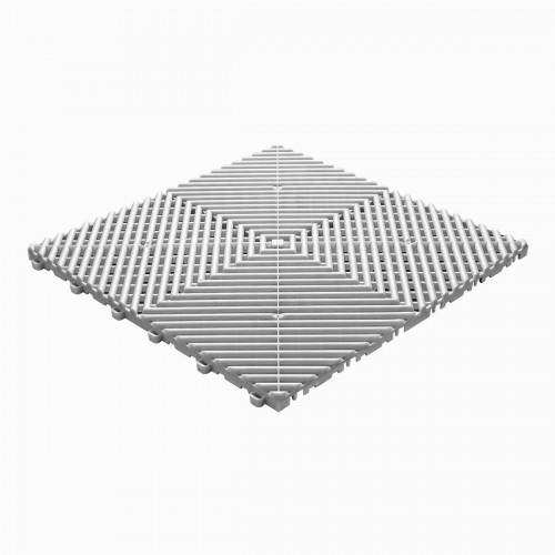 Garagevloer-kunststof-open ribben-structuur-rond Kleur: wit-alu