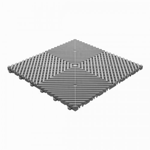 Garagevloer-kunststof-open ribben-structuur-rond Kleur: grijs-alu