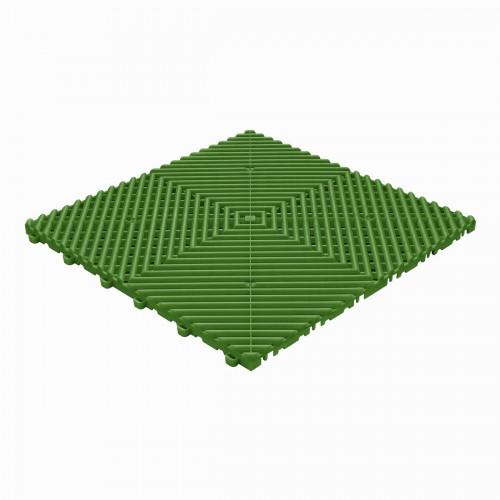 Garagevloer-kunststof-open ribben-structuur-rond Kleur: groen