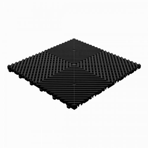 Garagevloer-kunststof-open ribben-structuur-rond Kleur: zwart