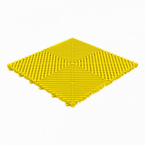 Garagevloer-kunststof-open ribben-structuur-rond Kleur: geel