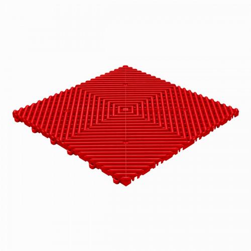 Garagevloer-kunststof-open ribben-structuur-rond Kleur: rood
