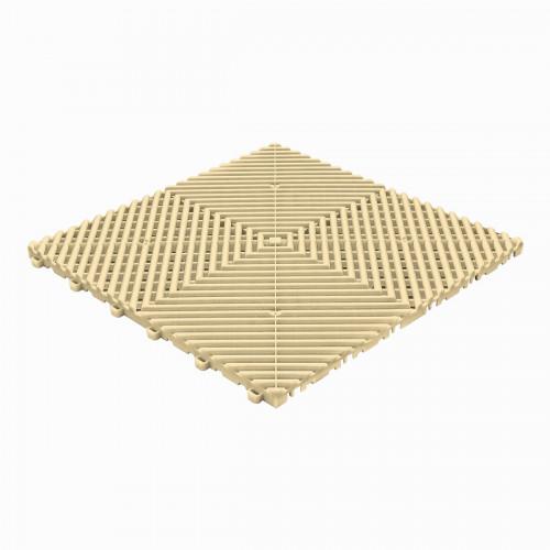 Garagevloer-kunststof-open ribben-structuur-rond Kleur: beige