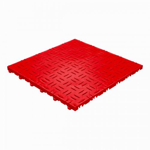Garagevloer-kunststof-traanplaat-structuur-Kleur: rood