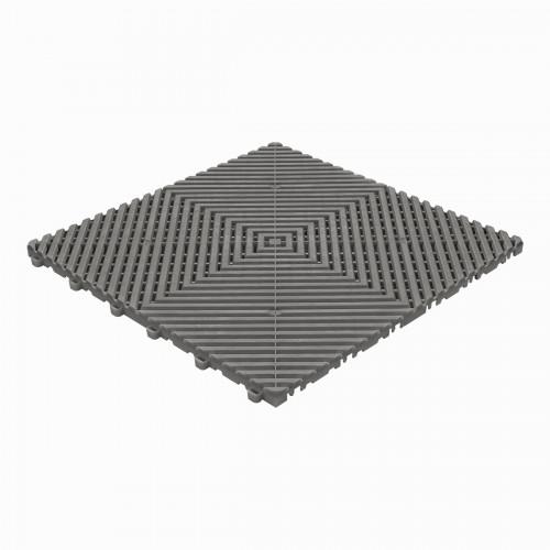 Garagevloer-kunststof-open ribben-structuur-vlak Kleur: donkergrijs