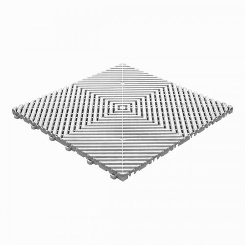 Garagevloer-kunststof-open ribben-structuur-vlak Kleur: wit-alu
