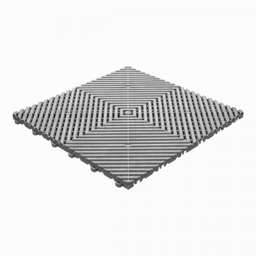 Garagevloer-kunststof-open ribben-structuur-vlak Kleur:grijs-alu