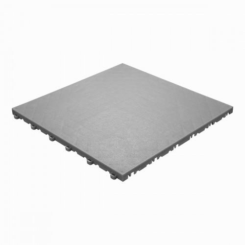 Garagevloer-kunststof- lederlook structuur-Kleur : grijs-alu