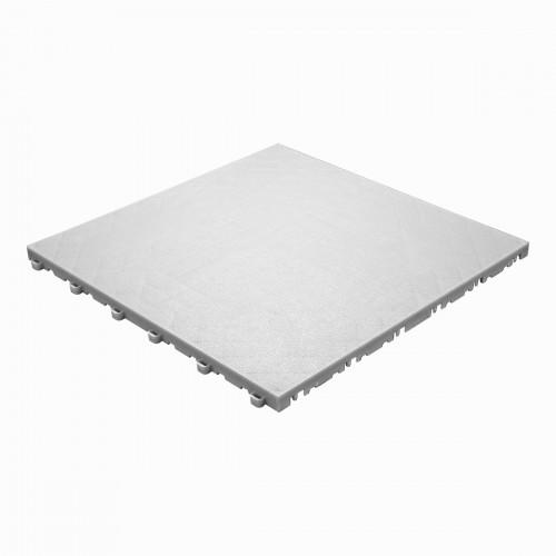 Garagevloer-kunststof- lederlook structuur-Kleur : wit-alu
